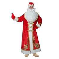Карнавальный костюм 'Дед Мороз' с золотым декором, шуба на подкладе, шапка, варежки, борода, парик, мех, р-р