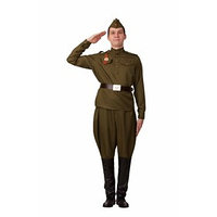 Карнавальный костюм 'Солдат в галифе', гимнастёрка, брюки, ремень, пилотка, р. 46