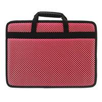 Папка с ручками каркасная, текстиль, А4, 50 мм, 330 х 260 мм, 'Тихвин', 'Шашки', красная