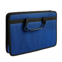 Папка с ручками каркасная, текстиль, А4, 50 мм, 350 х 260 мм, 'Луга', синий