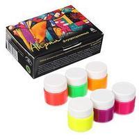 Краска акриловая, набор, 6 цветов х 20 мл, 'Аква-Колор', морозостойкая, флуоресцентная