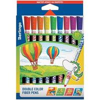 Фломастеры Berlingo 'Воздушные шары', двухсторонние, 20 цветов, 10 штук , утолщённые