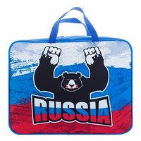 Пaпка с ручками, текстильная, А4 340х260х80 мм 'Медведь Росии' (ручка-тесьма)