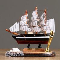 Декор настольный 'Корабль мечты' с подставкой для ручки, микс, 6,5 х 13,5 х 14,5 см