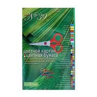 Набор для детского творчества А4, 14 листов картон цветной двухсторонний 16 листов бумага цветная