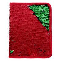 Папка для тетрадей формат А5, на молнии, Пайетки двуцветные-красный/золото, красный/зелёный