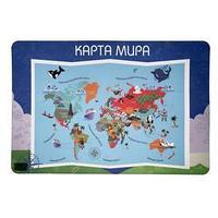 Накладка на стол пластик А2, Обучающая, 640 х 430 мм, 400 мкм, НПД-3, 'Карта Мира'