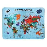 Накладка на стол пластик А3, Обучающая, 430 х 320 мм, 400 мкм, НПД-2, 'Карта Мира'