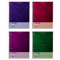 Тетрадь А4, 80 листов в клетку, на гребне Duotone Next, обложка мелованный картон, блок офсет, МИКС