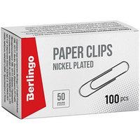 Скрепки никелированные 50 мм, 100 штук, картонная упаковка (комплект из 2 шт.)