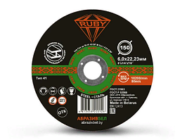 Отрезной круг шлифовальный по металлу 150х6,0х22,23 мм RUBY