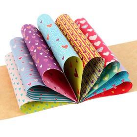 Бумага цветная с орнаментом А4, 8 листов 'Нежные сердечки', для декора и творчества (комплект из 4 шт.) - фото 2