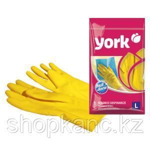 Перчатки резиновые York, суперплотные, с х/б напылением, р. L, желтые, пакет с европод.