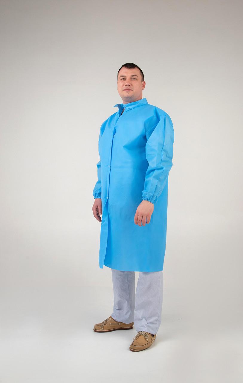 Халат защитный медицинский на кнопках одноразовый 42г/м2    ОПТОМ