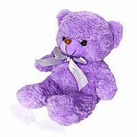 Мягкая игрушка мишка меховая кудрявая с бантиком 35 см фиолетовый