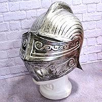 Рыцарский шлем с подвижным подъемным забралом с защитой затылка бутафория серебристый
