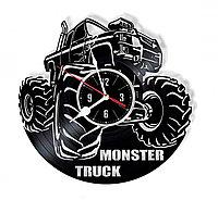 Настенные часы из пластинки, Monster Truck Монстр-трак, подарок фанатам, любителям, 0141