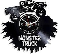 Настенные часы из пластинки, Monster Truck Монстр-трак, подарок фанатам, любителям, 0096