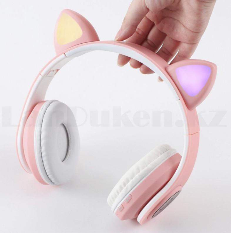 Беспроводные наушники стерео Bluetooth с микрофоном LED цветовой подсветкой и радио складные Cat Ear - фото 10