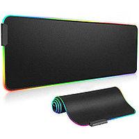 Коврик для для мышки клавиатуры и компьютеров игровой с RGB подсветкой 80х31 см Rasure черный