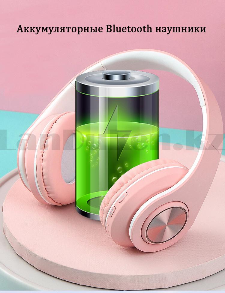 Беспроводные наушники стерео Bluetooth с микрофоном LED цветовой подсветкой и радио складные Cat Ear - фото 8