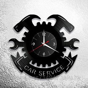 Настенные часы из пластинки СТО, подарок автомеханику, автослесарю, шиномонтажнику, 0529
