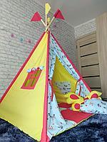 Детская палатка вигвам 4х гранный Яркие бабочки