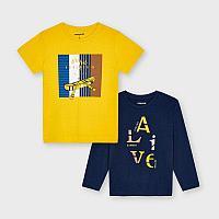 Комплект Желтая - Синяя Футболка Mayoral Размер 7 - 122