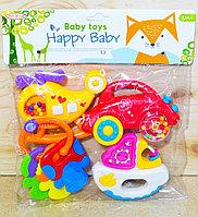 Погремушка Baby Toys Happy Baby машина, вертолет, катер с прорезывателем в пакете 26*23