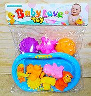 916-39 Пищалки Baby Love Toy разные животные и мяч в пакете с ванночкой 27*24