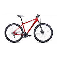 """Велосипед FORWARD APACHE 29 2.2 disc (29"""" 21 ск. рост 21"""") 2020-2021, красный/серебристый, RBKW1M39G"""