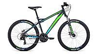 """Велосипед FORWARD FLASH 26 2.2 disc (26"""" 21 ск. рост 15"""") 2020-2021, серый матовый/ярко-зеленый"""
