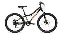 """Велосипед FORWARD IRIS 24 2.0 disc (24"""" 6 ск. рост 12"""") 2020-2021, черный/оранжевый, RBKW17N46005"""