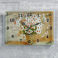 """Часы настенные прямоугольные """"Корзина с ромашками"""", 25х35 см"""