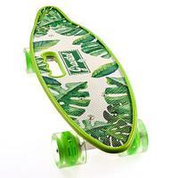 Скейт Penny Board {Пенни Борд} с подсветкой колёс на алюминиевой платформе (Салатовый / С принтом)