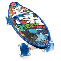 Скейт Penny Board {Пенни Борд} с подсветкой колёс на алюминиевой платформе (Синий / С принтом)