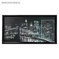 """Часы-картина настенные, серия: Город, """"Ночной Нью-Йорк"""", черно-белый 50х100 см, микс"""