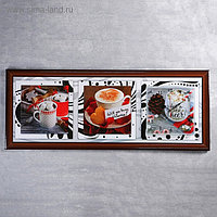 """Часы-картина настенные, серия: Кухня, """"Кофе"""", 35х100 см, микс"""