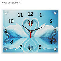"""Часы настенные, серия: Животный мир, """"Два белых лебедя"""", 30х40 см, микс"""