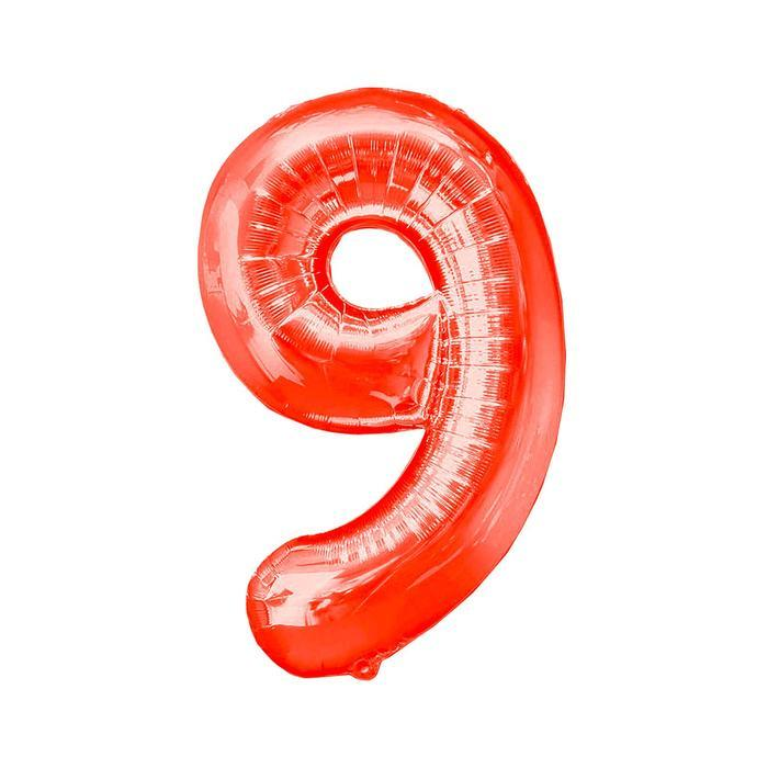 """Шар фольгированный 16"""", цифра 9, индивидуальная упаковка, цвет красный"""