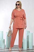 Женский летний оранжевый большого размера брючный комплект Alani Collection 1422 52р.