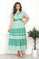 Женское летнее хлопковое зеленое большого размера платье Solomeya Lux 798 48р.