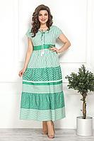 Женское летнее хлопковое зеленое большого размера платье Solomeya Lux 798 52р.