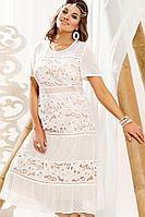 Женское летнее бежевое нарядное большого размера платье Vittoria Queen 14093 яично-белый 50р.