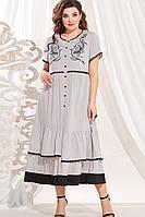 Женское летнее из вискозы серое большого размера платье Vittoria Queen 13623 серый 60р.