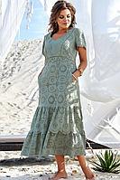 Женское летнее хлопковое зеленое большого размера платье Vittoria Queen 12593 хаки 58р.