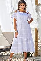 Женское летнее хлопковое белое большого размера платье Vittoria Queen 12353 белый 50р.