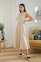 Женское летнее льняное бежевое платье LadisLine 1352 светлый-беж 44р.