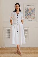 Женское летнее льняное белое платье LadisLine 1351 белый 44р.