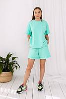 Женский летний трикотажный бирюзовый спортивный брючный комплект La Stella malenki_m18_mint 42р.